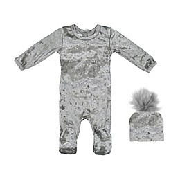 HannaKay, By Maniere® 2-Piece Crushed Velvet Footie and Hat in Grey