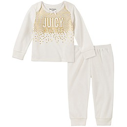 Juicy Couture® 2-Piece Logo Long Sleeve Top and Pant Set in White
