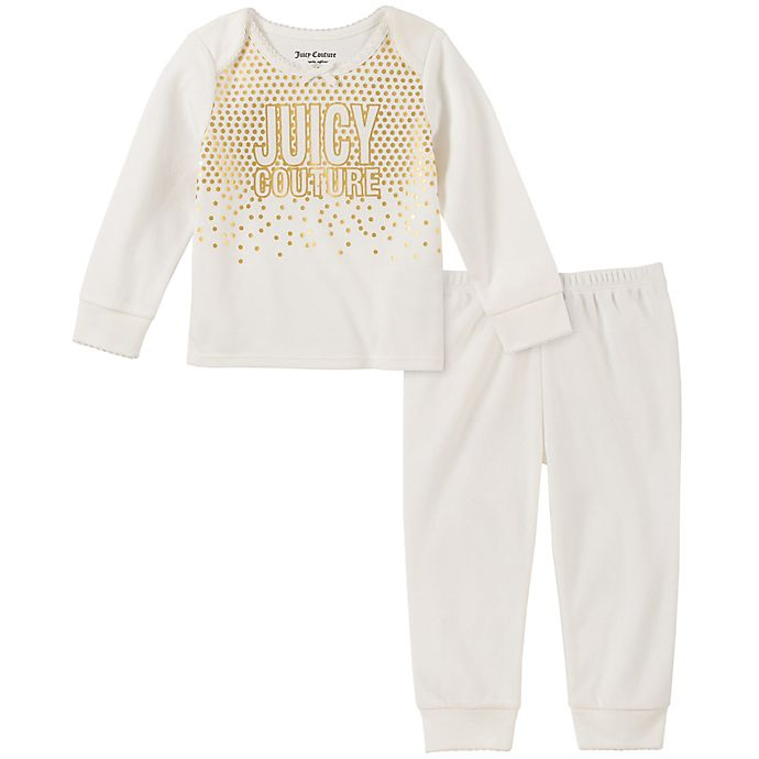 Alternate image 1 for Juicy Couture® 2-Piece Logo Long Sleeve Top and Pant Set in White
