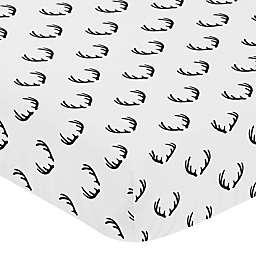 Sweet Jojo Designs Woodland Camo Antler Fitted Crib Sheet in Black/White