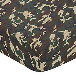 Sweet Jojo Designs Woodland Camo Fitted Crib Sheet in Green/Brown