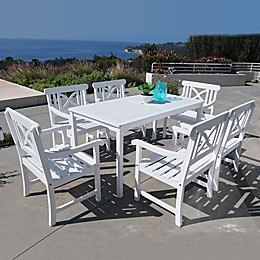 Vifah Bradley 7-Piece Outdoor Dining Set with Wide-Back Chairs in White