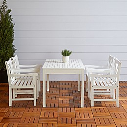 Vifah Bradley 5-Piece Outdoor Dining Set in White