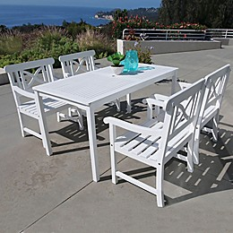 Vifah Bradley 5-Piece Outdoor Dining Set with Wide-Back Chairs in White