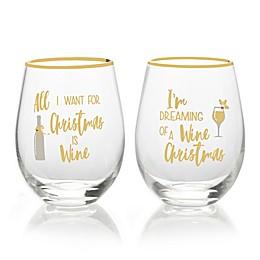 Mikasa® Celebrations 2-Piece Wine Dreaming Stemless Wine Glass Set