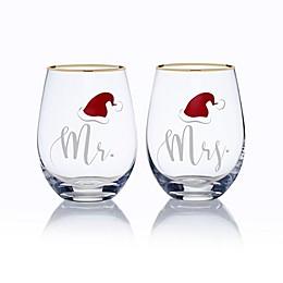 Mikasa® Celebrations 2-Piece Mr. and Mrs. Santa Hat Stemless Wine Glass Set