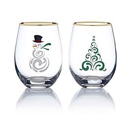 Mikasa® Celebrations 2-Piece Christmas Tree and Snowman Stemless Wine Glass Set
