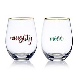 Mikasa® Celebrations 2-Piece Naughty and Nice Stemless Wine Glass Set