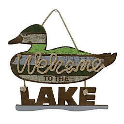 """Sweet Bird & Co.™ Duck Call """"Welcome to the Lake"""" Wood Sign"""