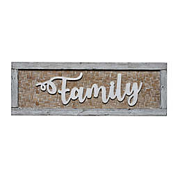 Family 35-Inch x 12-Inch Wood and Bamboo Decorative Sign in Brown