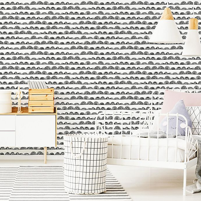 Roommates Doodle Scallop Vinyl Peel Stick Wallpaper Bed Bath Beyond