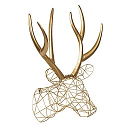 Kate & Laurel™ Milty 17-Inch x 20-Inch Hanging Deer Head Metal Wall Art in Gold