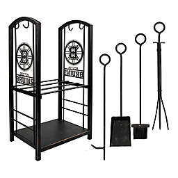NHL Fireplace Wood Holder and Tool Set Collection
