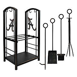 Collegiate Fireplace Wood Holder and Tool Set Collection
