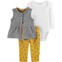 carter's® 3-Piece Bodysuit, Quilted Vest, and Legging Set in Grey