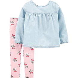 carter's® 2-Piece Chambray Top and Cherry Legging Set