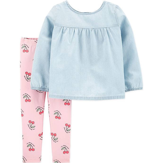 Alternate image 1 for carter's® 2-Piece Chambray Top and Cherry Legging Set