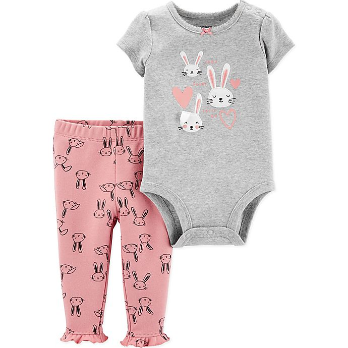 Alternate image 1 for carter's® 2-Piece Bunny Hearts Bodysuit and Pant Set in Grey