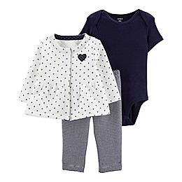 carter's® 3-Piece Dot Bodysuit, Cardigan, and Pant Set in White