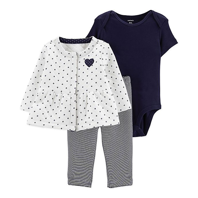 Alternate image 1 for carter's® 3-Piece Dot Bodysuit, Cardigan, and Pant Set in White
