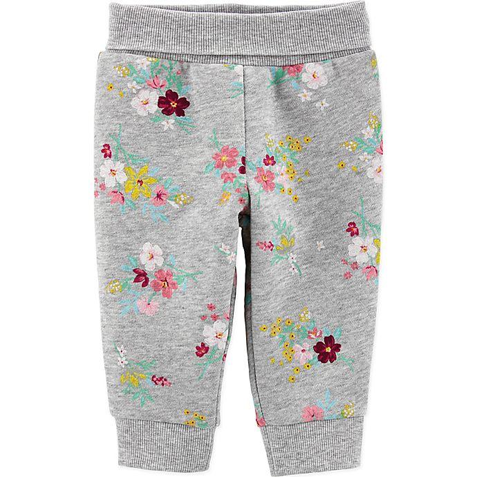 Alternate image 1 for carter's® Floral Fleece Pant in Grey