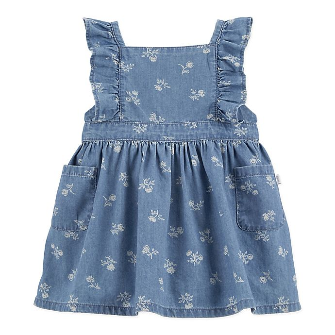 Alternate image 1 for OshKosh B'gosh® 2-Piece Floral Chambray Pinafore and Diaper Cover Set