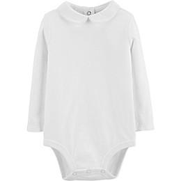 OshKosh B'gosh® Peter Pan Collar Long Sleeve Bodysuit in White