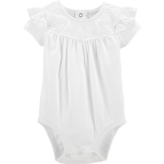 Alternate image 1 for OshKosh B'gosh® Eyelet Bodysuit in Ivory