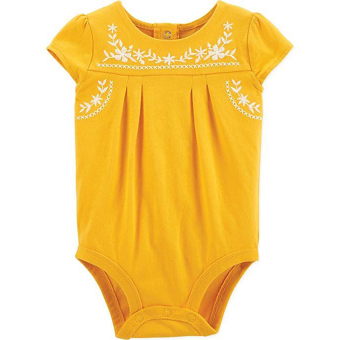 Alternate image 1 for OshKosh B'gosh® Sunflower Short Sleeve Bodysuit in Yellow