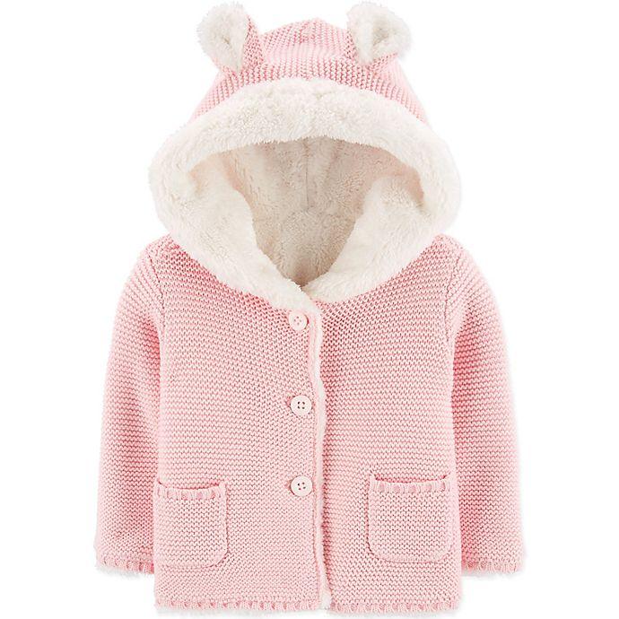 Alternate image 1 for carter's® Hooded Sherpa Cardigan in Pink