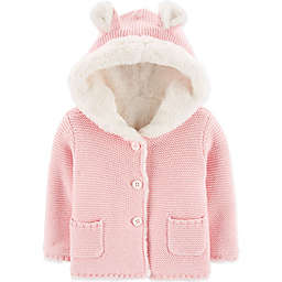 carter's® Hooded Sherpa Cardigan in Pink