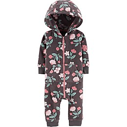 carter's® Flower Hooded Fleece Coverall in Grey