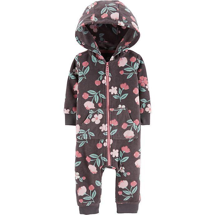 Alternate image 1 for carter's® Flower Hooded Fleece Coverall in Grey