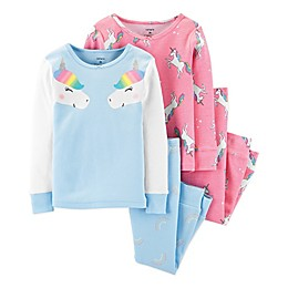 carter's® 4-Piece Unicorn Pajama Top and Pant Set in Blue/Pink
