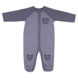 Sterling Baby Reverse Knit Bear Footie in Grey