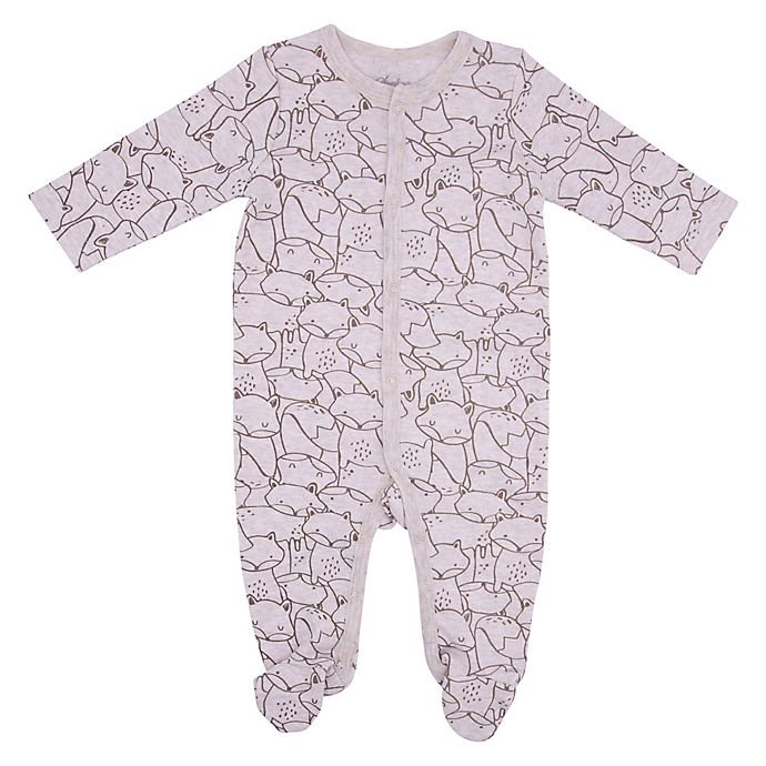 Alternate image 1 for Sterling Baby Allover Fox Footie in Grey