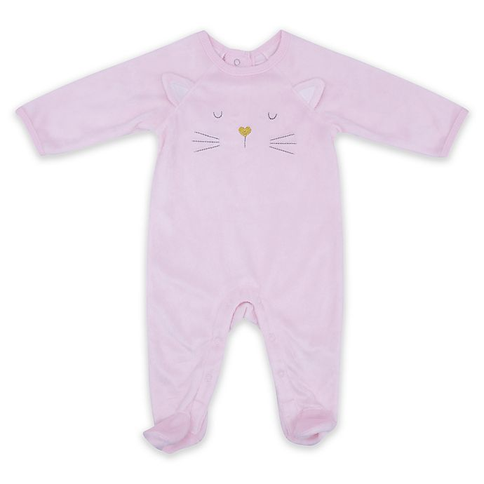 Alternate image 1 for Sterling Baby Plush Kitty Footie in Pink