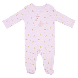 Sterling Baby Trapunto Swan Footie in Pink