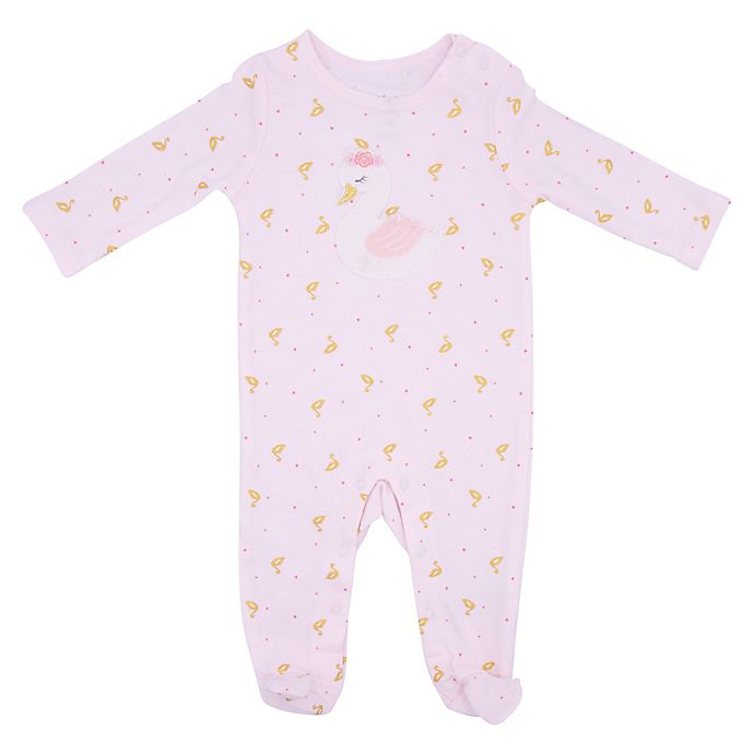 Alternate image 1 for Sterling Baby Trapunto Swan Footie in Pink