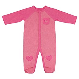 Sterling Baby Reverse Double Knit Heart Footie in Pink