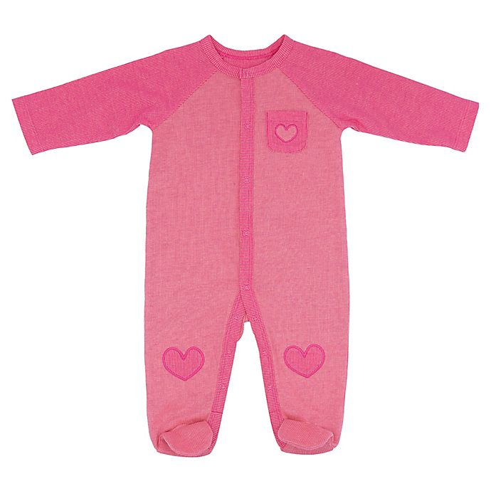 Alternate image 1 for Sterling Baby Reverse Double Knit Heart Footie in Pink