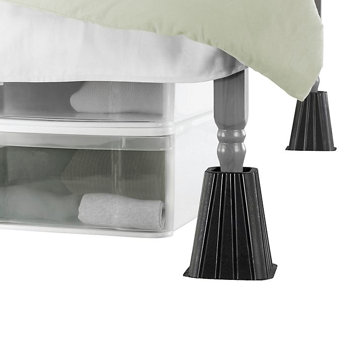 Alternate image 1 for SALT™ Extra Tall Bed Lifts in Black (Set of 4)