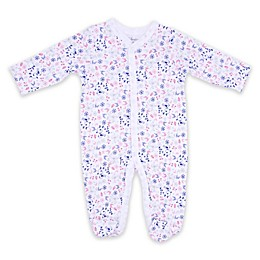 Sterling Baby Floral Bird Footie in White