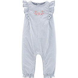 carter's® Striped Ruffle Chambray Romper