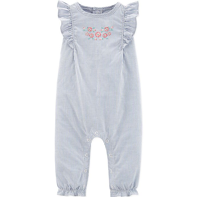 Alternate image 1 for carter's® Striped Ruffle Chambray Romper