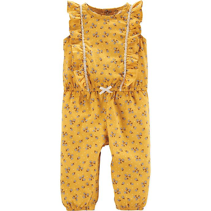 Alternate image 1 for carter's® Ruffle Floral Romper in Yellow