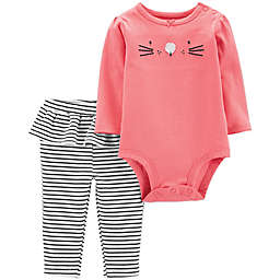 carter's® 2-Piece Cat Face Bodysuit and Pant Set in Pink