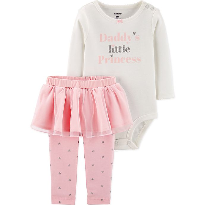 Alternate image 1 for carter's® 2-Piece Princess Bodysuit and Pant Set in White