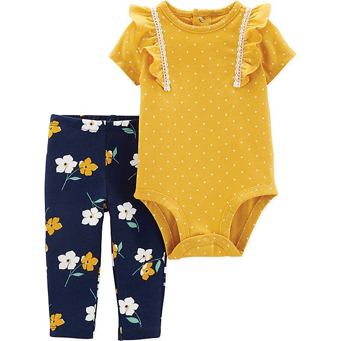 Alternate image 1 for carter's® 2-Piece Lace Flower Bodysuit and Pant Set in Yellow