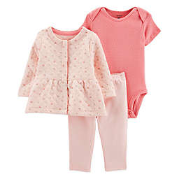 carter's® 3-Piece Floral Cardigan, Bodysuit, and Pant Set in Pink